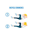 bicycle crunches abs workout exercises and vector image