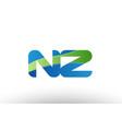 blue green nz n z alphabet letter logo vector image vector image