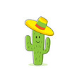 cactus cartoon character isolated cactus with vector image vector image