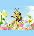 cartoon bee holding honey dipper with flower vector image vector image