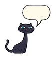 cartoon black cat with speech bubble vector image vector image