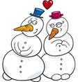 cartoon illustration of snowman couple in love vector image vector image