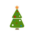 christmas tree topped by golden star and decorated vector image vector image