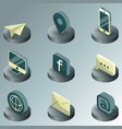 contact us color isometric icons vector image