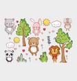 cute animals doodle cartoons vector image