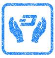 dash care hands framed stamp vector image vector image