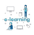 e learning couple elements vector image vector image