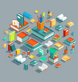 education isometric flat design concept le vector image vector image