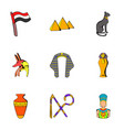 Egyptian culture icons set cartoon style