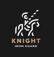 equestrian knight linear logo symbol on a dark vector image vector image