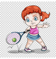 female tennis player on transparent background vector image