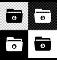 folder and lock icon isolated on black white and vector image vector image