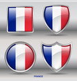 france flag in 4 shapes collection vector image