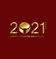 gold chinese new year 2021 year ox on red vector image