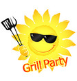 grill party yellow sun vector image vector image