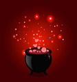 halloween of witch pot with boiling potion vector image vector image