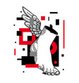 hermes foot sculpture glitch red modern style vector image