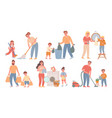 kids and parents cleaning children helps adults vector image
