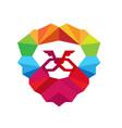 king lion color logo vector image vector image