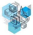 lines and shapes abstract isometric 3d background vector image vector image