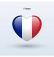 Love France symbol Heart flag icon vector image