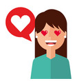 lovely young woman with heart avatar character vector image vector image