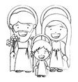 monochrome blurred silhouette of sacred family vector image vector image