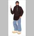 muslim woman dressed in hip hop style vector image vector image