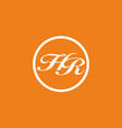 orange white hr initial letter in circle vector image vector image