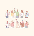 people greet or say hello with hand vector image
