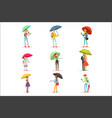 people with umbrellas smiling man and woman vector image vector image