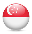 Round glossy icon of singapore vector image vector image