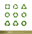 Set flat green signs of recycling arrow vector image vector image