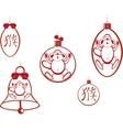 Set of Christmas tree balls and a bell with a vector image vector image