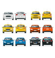 set of different types of cars yellow taxi vector image