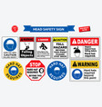 set of safety head sign vector image