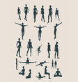 Set of sexy women silhouettes vector image