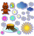 set stiker groundhog day color cartoon holiday vector image