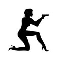 silhouette girl in an action movie film shootout vector image