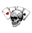 skulls with playing cards set vector image