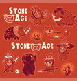 sticker set of prehistoric animals and vector image vector image