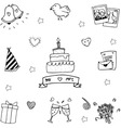 Sweet party set in doodle vector image vector image