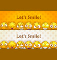 two funny header banners funny cartoon yellow vector image