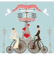 Wedding invitationBride groom on retro bike vector image