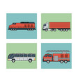 white background with square set of vehicles of vector image vector image