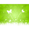 white butterflies on a green background a i vector image vector image