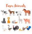 flat style set of farm animals vector image
