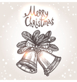 Christmas Card With Sketch Bells vector image