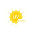 yellow uv protection logo on white vector image
