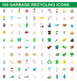 100 garbage recycling icons set cartoon style vector image